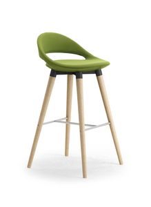 Samba 4G wooden Stool, Modern stool with tapered legs and footrests
