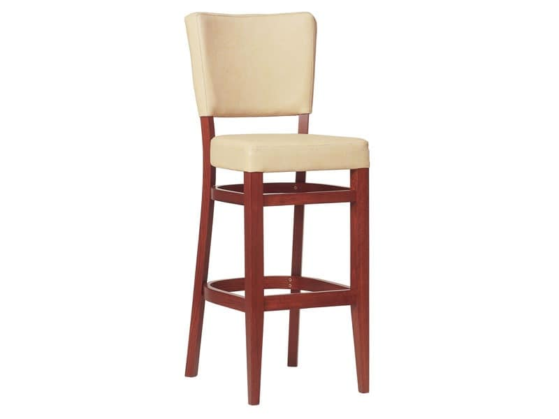 SG/Marsiglia, Upholstered stool made of wood, for bars and restaurants