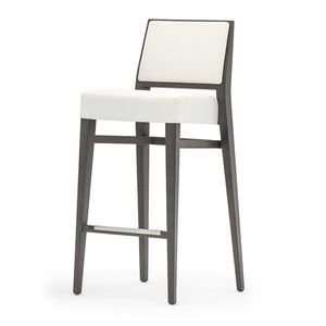 Timberly 01784 - 01794, Stackable barstool with solid wood, upholstered seat and back, fabric covering, steel footrest, for contract use