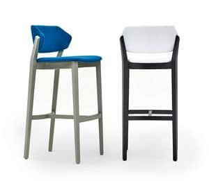Turtle stool, Padded barstool in solid beech, for restaurants