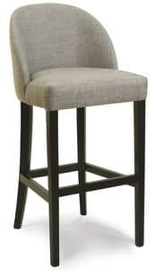 Verona SG, Stool in wood with upholstered seat and back, for bars