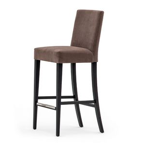 Zenith 01681 - 01691, Barstool in solid wood, upholstered seat and back, fabric covering, steel footrest, for contract use