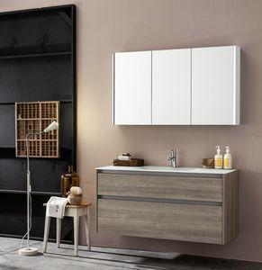 Kami comp.05, Modular bathroom cabinet with mirror