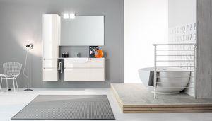 Kami comp.09, Modular bathroom cabinet with polished finishings