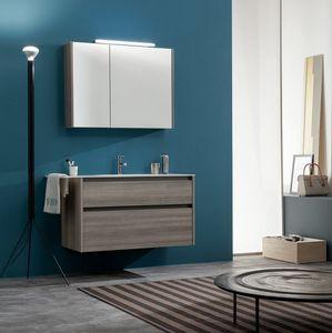 Kami comp.11, Bathroom cabinet with storage mirror