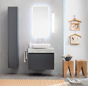 Kami comp.12, Modular bathroom cabinet with storage column