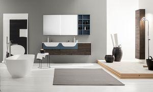 Kami comp.15, Modular bathroom cabinet with double sink
