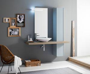 Kami comp.19, Bathroom set with column and countertop washbasin