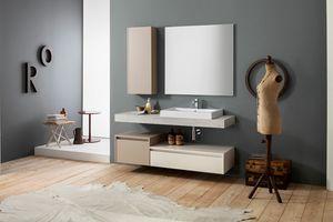 Kami comp.20, Wall-mounted bathroom cabinet with storage column