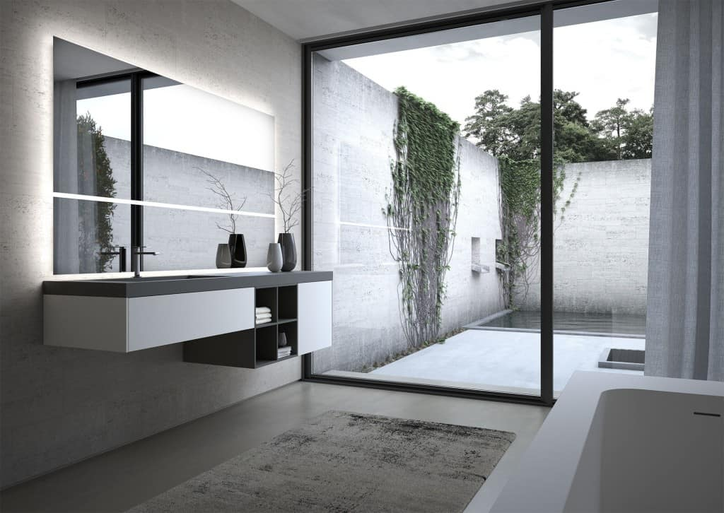 Sense comp.06, Modular bathroom furniture, with large mirror
