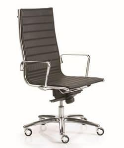 LIGHT 16000, Office chair with chrome armrests, fireproof