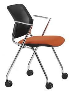 NESTING DELFINET 075 R, Chair with chromed metal base and armrests, with castors