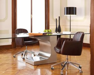 Tulip task, Swivel office chair, made of leather with chrome wheels
