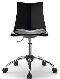 Zebra, Home office armchair, swivel and adjustable, polycarbonate seat