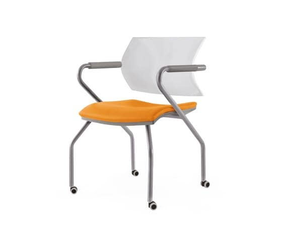 cantilever chair with a chromed structure for meeting