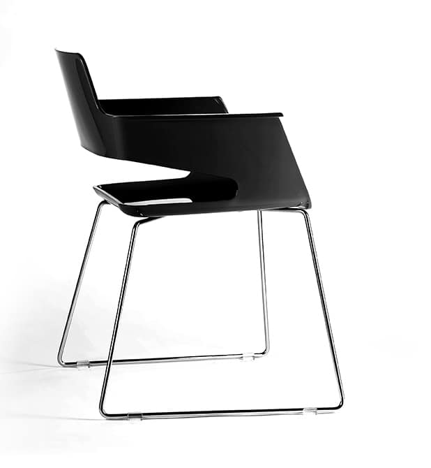 B32 SL, Modern chair, with nylon seat and backrest, sled base