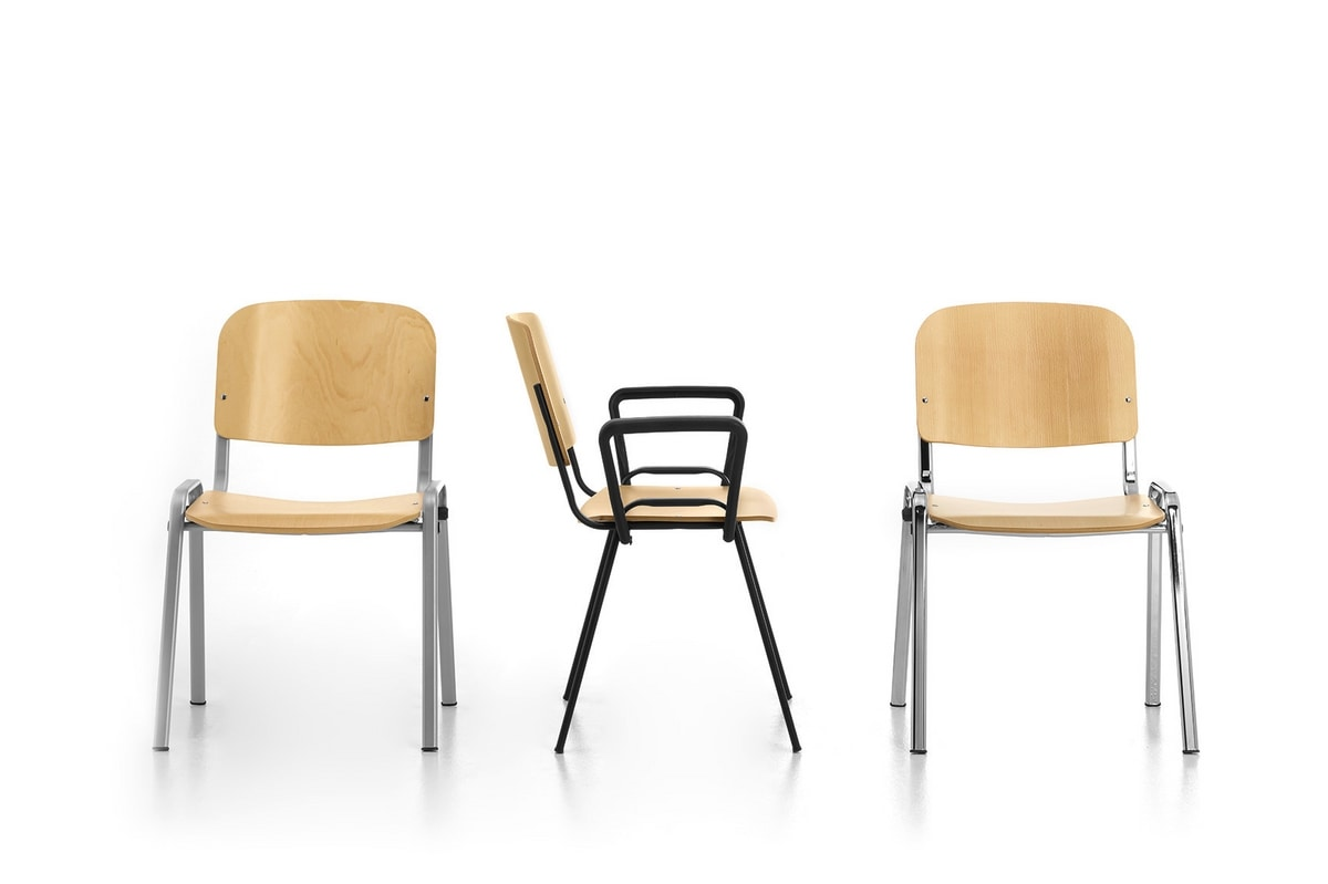 Leo 02, Stackable chair for community, in metal and plywood