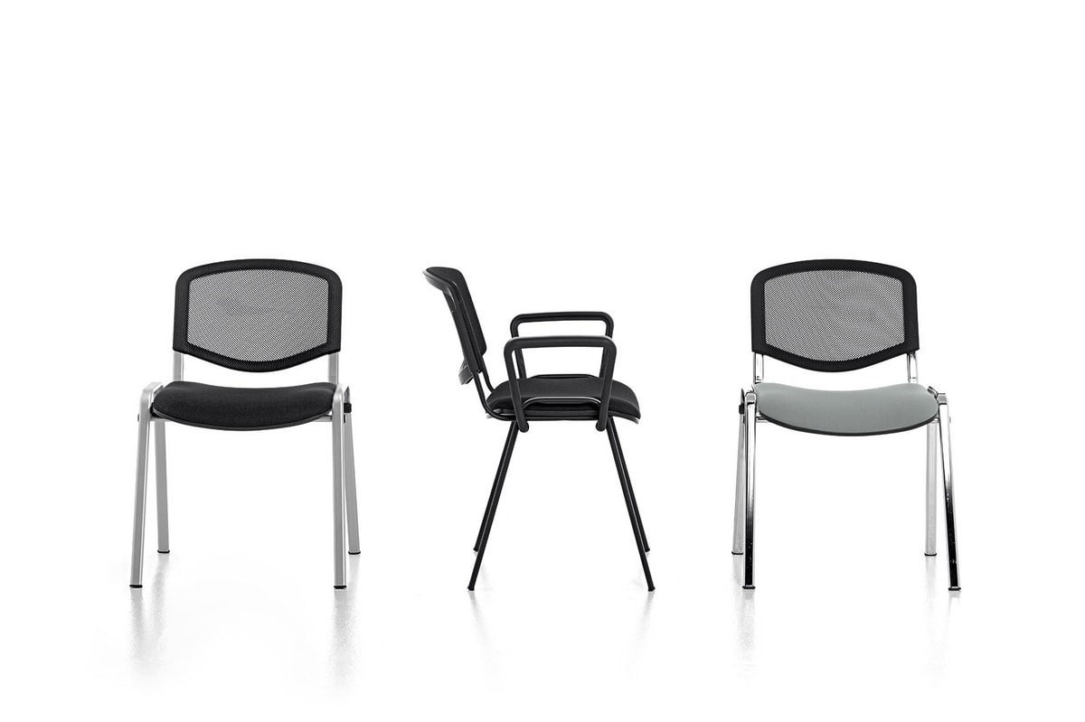 Leo 04, Stackable chair for community, non-slip rubber feet