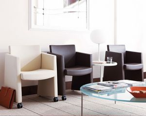 M2 visitor, Modern chair with chromed sled base, upholstered seat and back