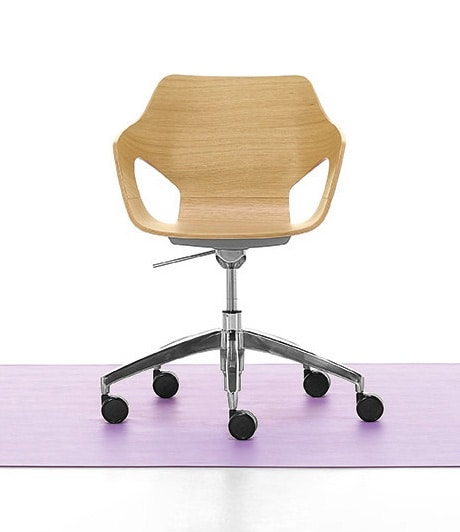 swivel chair with gas lift wooden shell idfdesign