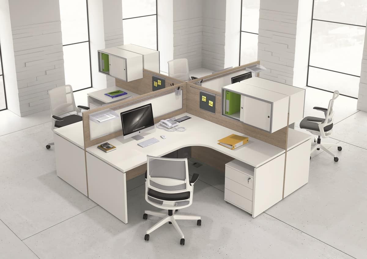 modular desks with various accessories for office