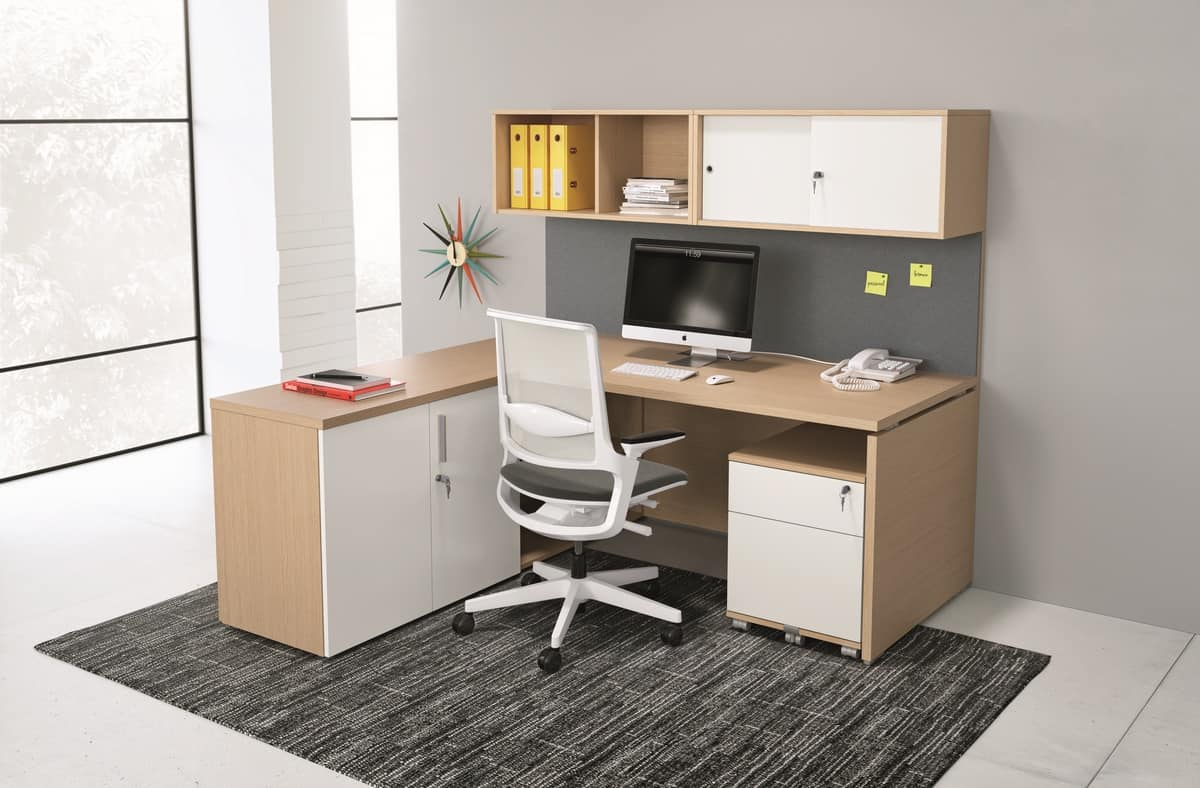 Modular configuration for office with cupboards and for Home office configurations