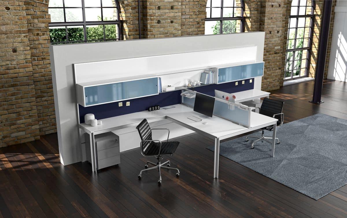 modern office workstations. Zefiro Comp.2, Linear Modern Office Workstations, Aluminum Anodized Workstations C