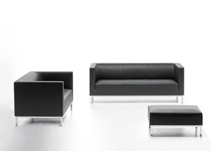 Argo 02, Elegant sofa in faux leather, for waiting room