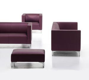 Argo Light 02, Upholstered sofa for office, chromed steel feet