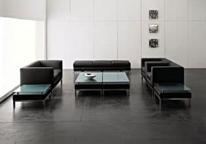 CUBE, Linear 2-seater sofa with metal feet, for Offices