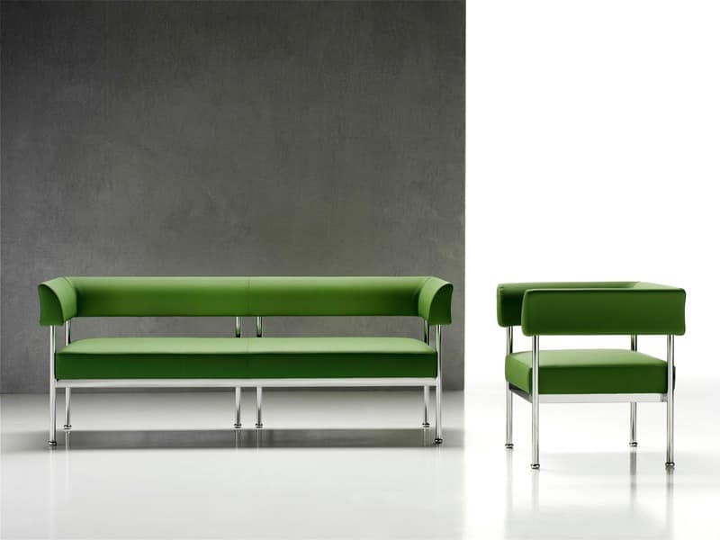 Wonderful Jive 3p, 3 Seater Sofa, Chromed Steel Frame, For The Office
