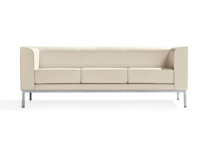 Korall, 2 seater sofa with painted aluminum feet