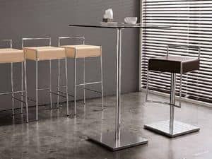 Mark H75 CU, Modern barstool in metal and leather,in modern lines
