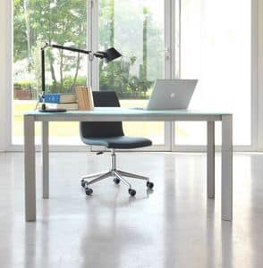 dl80 lugano, Desk table in aluminum with glass top
