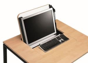 KUDOS 974, Retractable PC storage table, in metal and laminate