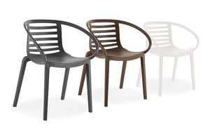 1713, Plastic chair for outdoor, backrest with slats