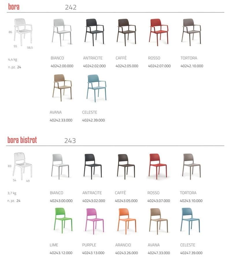 Chair in plastic material Bora