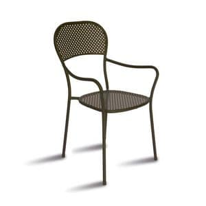 CHF68, Chair with armrests in galvanized steel, for outdoors