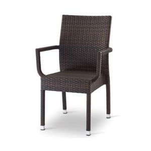 Giada 3, Chair with armrests, woven polyethylene covering