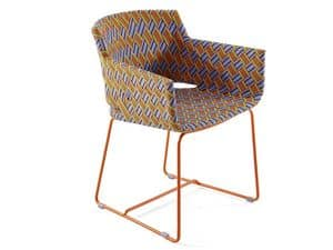 Kente chair with arms, Modern outdoor armchair, weaving in synthetic fiber