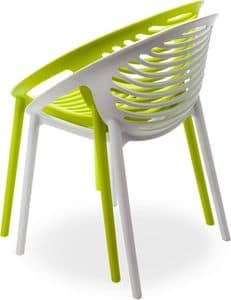 Klint, Stackable armchair in polypropylene for outdoors