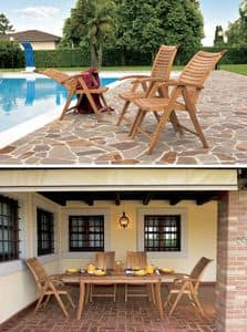 Mirage reclining armchair, Chair with horizontal slats, for outdoor side and Bar