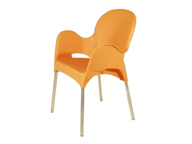 PL 029, Armchair in aluminum and polypropylene, for ice cream shop
