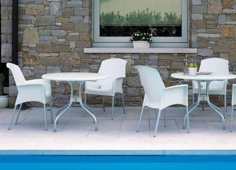 Super Jenny, Stackable chair for outdoor use, in technopolymer and aluminum