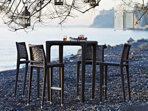 Altea stool, Woven stool, aluminium structure, for outdoor environments