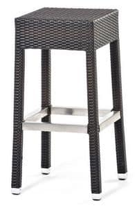 Lotus sgabello 2, Stool in aluminum and woven fiber, for outdoor use