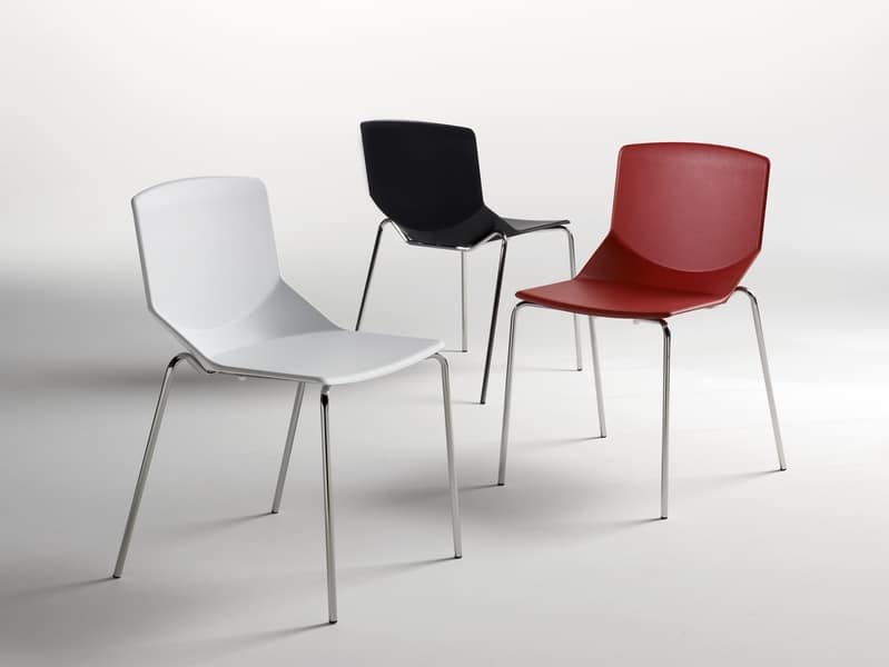 Formula tech 4L, Stackable chair, colored polyurethane seat and backrest, suitable for use indoors and outdoors