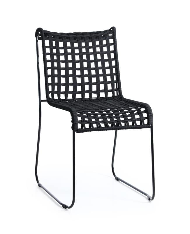 Metal chair seat in woven rope for indoor and outdoor