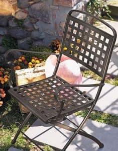 Isabella P, Folding steel chair, for garden
