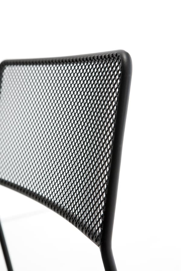 Log mesh, Metal chair, stackable and easy to transport, suitable for outdoor use
